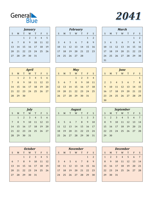 Image of 2041 2041 Calendar with Color