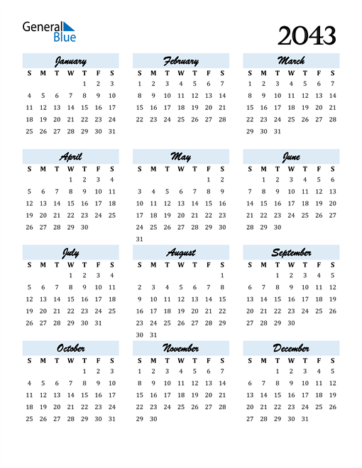 Image of 2043 2043 Calendar Cool and Funky