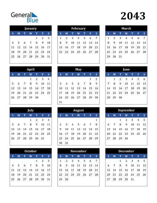 Image of 2043 2043 Calendar Stylish Dark Blue and Black
