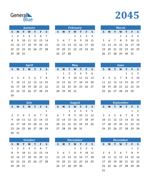 Image of 2045 2045 Calendar Blue with No Borders