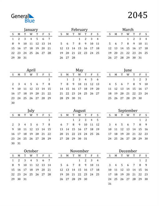 Image of 2045 2045 Printable Calendar Classic