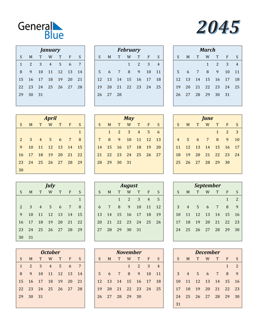Image of 2045 2045 Calendar with Color