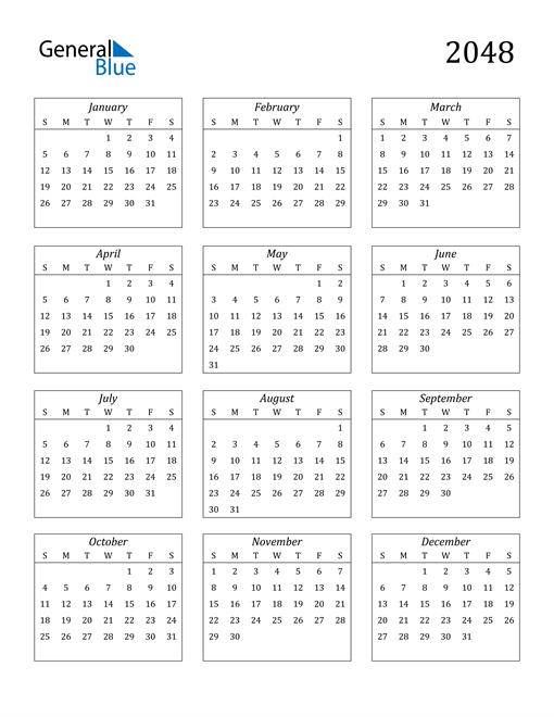 Image of 2048 2048 Calendar Streamlined