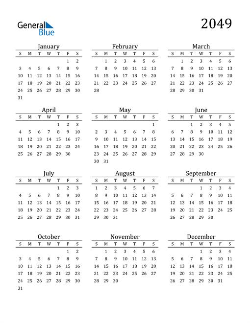 Image of 2049 2049 Printable Calendar Classic