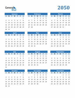 Image of 2050 2050 Calendar Blue with No Borders