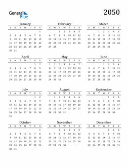 Image of 2050 2050 Printable Calendar Classic