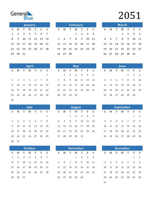 Image of 2051 2051 Calendar