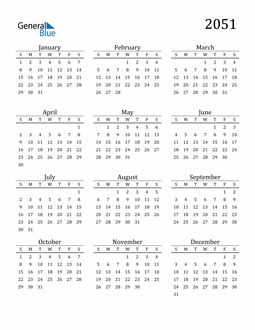Image of 2051 2051 Printable Calendar Classic