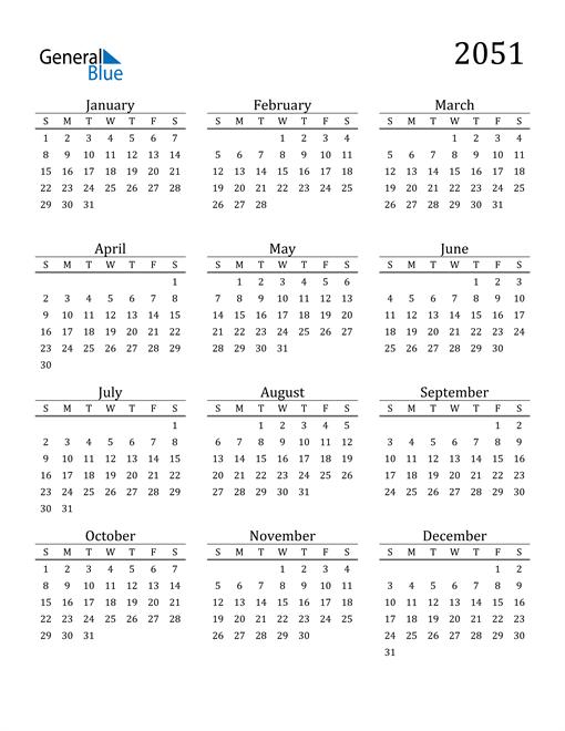 Image of 2051 2051 Printable Calendar Classic