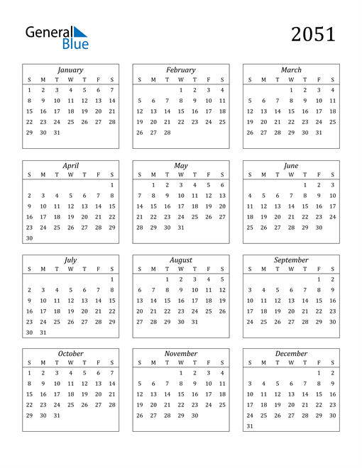Image of 2051 2051 Calendar Streamlined