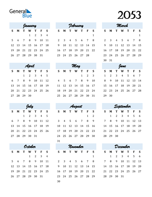 Image of 2053 2053 Calendar Cool and Funky