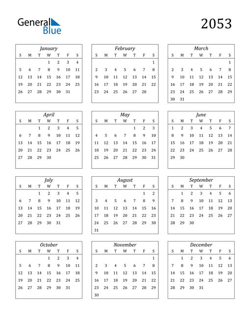 Image of 2053 2053 Calendar Streamlined