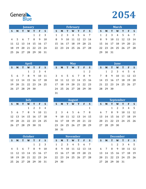 Image of 2054 2054 Calendar Blue with No Borders
