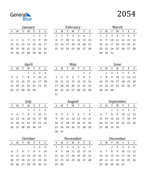 Image of 2054 2054 Printable Calendar Classic
