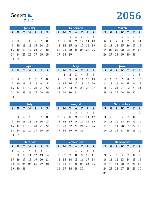 Image of 2056 2056 Calendar Blue with No Borders