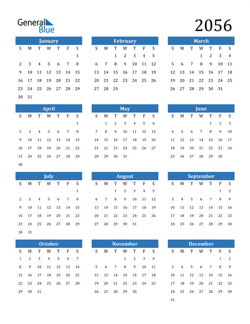 Image of 2056 2056 Calendar