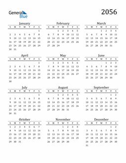 Image of 2056 2056 Printable Calendar Classic