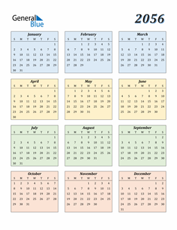 Image of 2056 2056 Calendar with Color