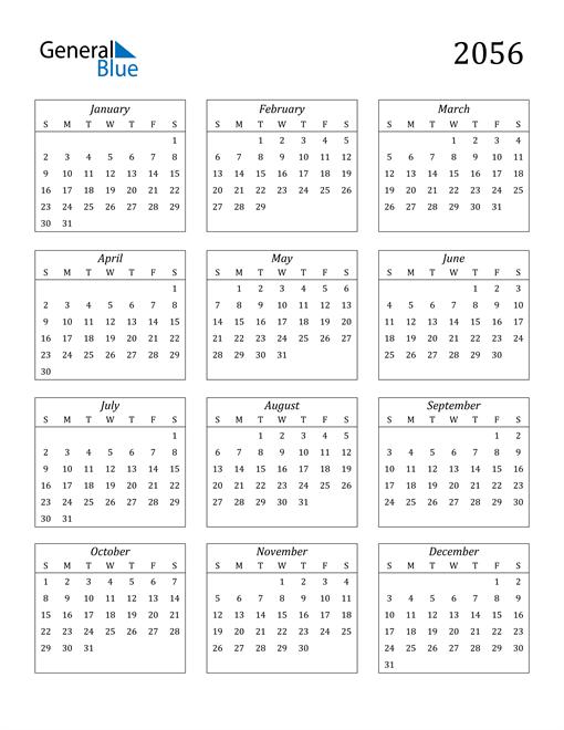 Image of 2056 2056 Calendar Streamlined