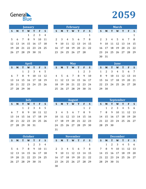 Image of 2059 2059 Calendar Blue with No Borders