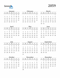 Image of 2059 2059 Printable Calendar Classic