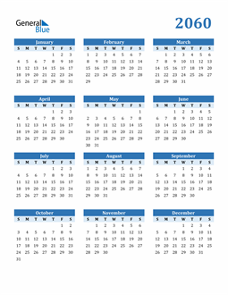 Image of 2060 2060 Calendar Blue with No Borders