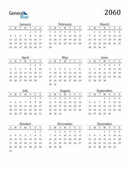 Image of 2060 2060 Printable Calendar Classic