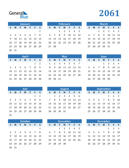 Image of 2061 2061 Calendar Blue with No Borders