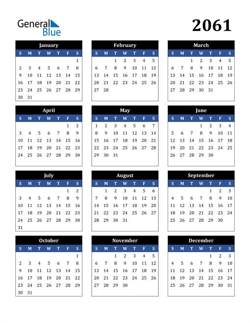 Image of 2061 2061 Calendar Stylish Dark Blue and Black