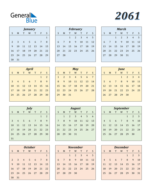 Image of 2061 2061 Calendar with Color