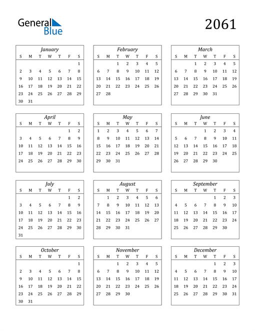 Image of 2061 2061 Calendar Streamlined