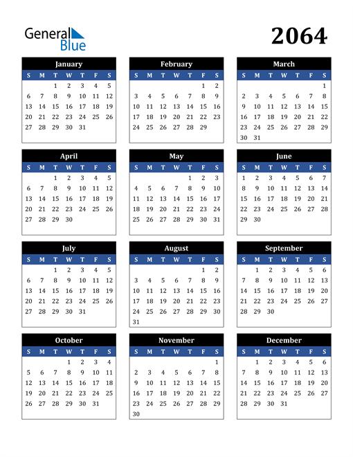 Image of 2064 2064 Calendar Stylish Dark Blue and Black