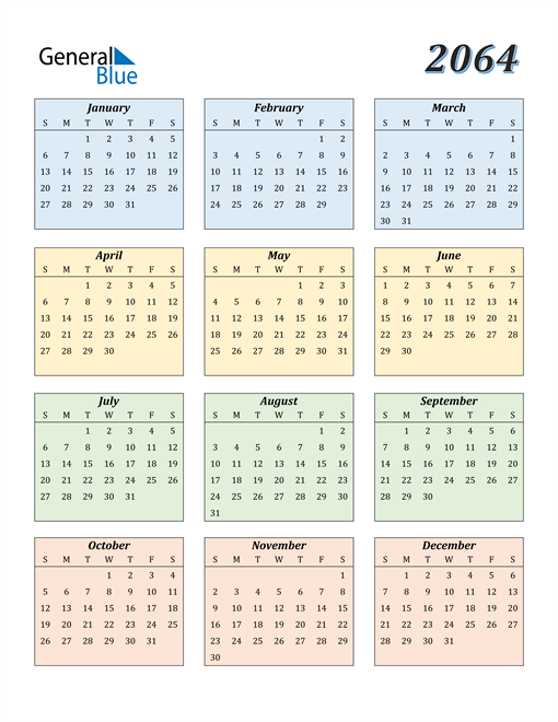 Image of 2064 2064 Calendar with Color