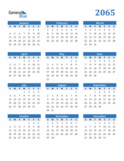 Image of 2065 2065 Calendar Blue with No Borders