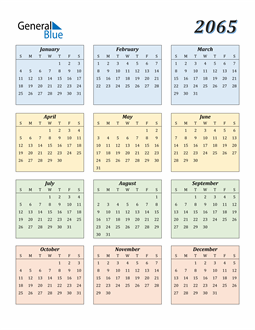Image of 2065 2065 Calendar with Color