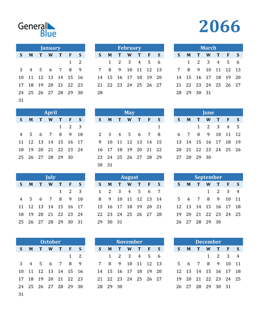 Image of 2066 2066 Calendar Blue with No Borders