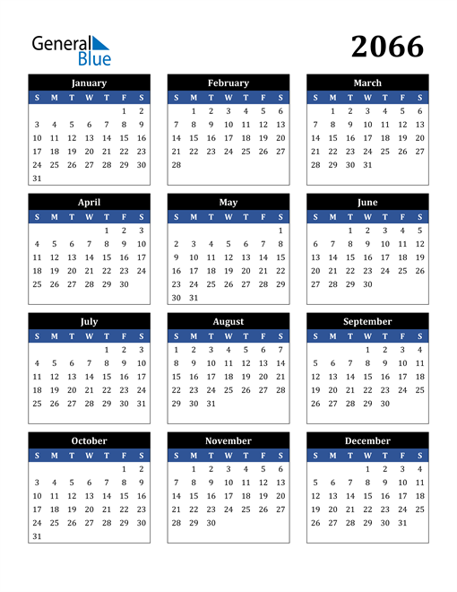 Image of 2066 2066 Calendar Stylish Dark Blue and Black