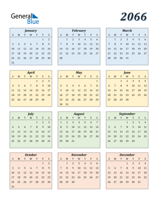 Image of 2066 2066 Calendar with Color
