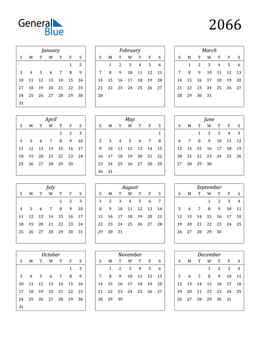 Image of 2066 2066 Calendar Streamlined