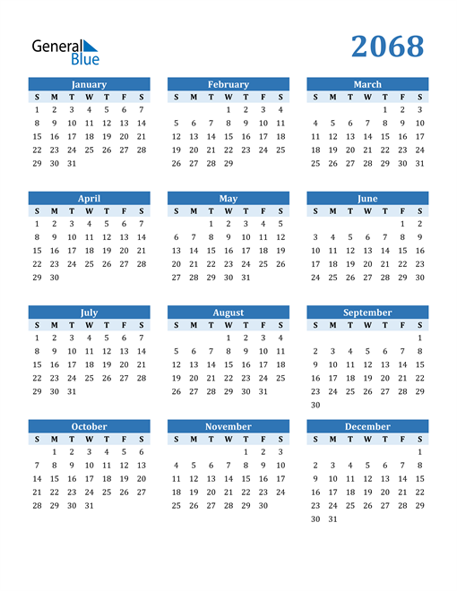 Image of 2068 2068 Calendar Blue with No Borders