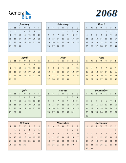 Image of 2068 2068 Calendar with Color