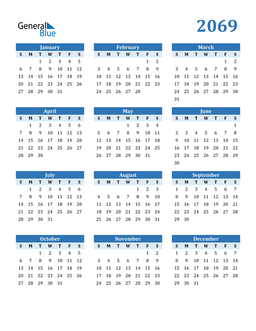 Image of 2069 2069 Calendar Blue with No Borders