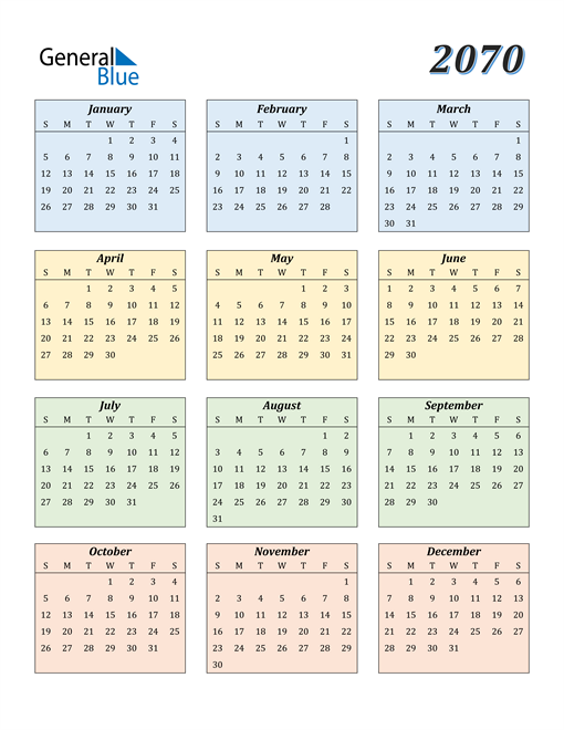 Image of 2070 2070 Calendar with Color