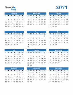 Image of 2071 2071 Calendar Blue with No Borders