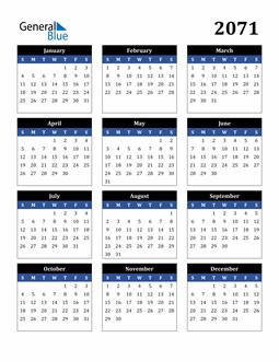 Image of 2071 2071 Calendar Stylish Dark Blue and Black