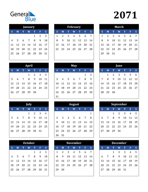 Image of 2071 2071 Calendar Stylish Dark Blue and Black