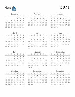 Image of 2071 2071 Printable Calendar Classic