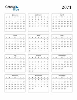 Image of 2071 2071 Calendar Streamlined