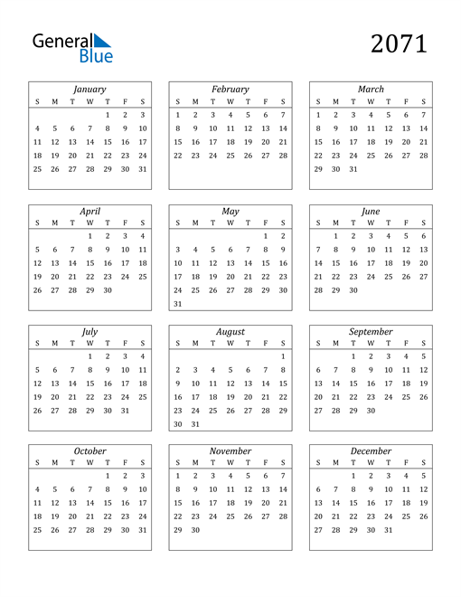 Image of 2071 2071 Calendar Streamlined