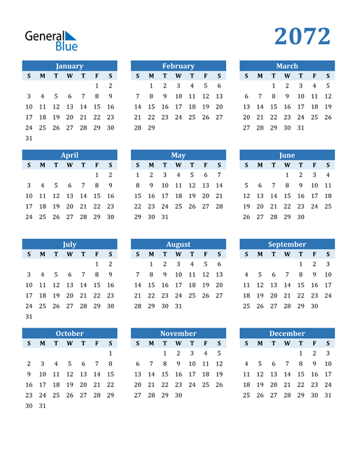 Image of 2072 2072 Calendar Blue with No Borders